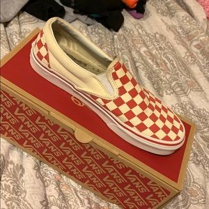 red checkerboard slip ons